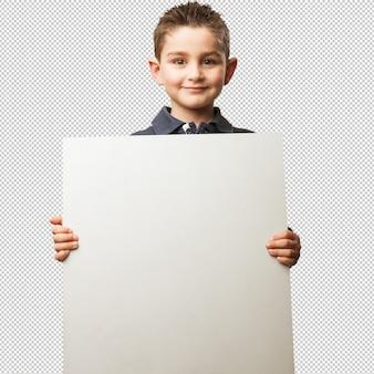 Niño sosteniendo una pancarta