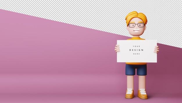 Niños felices con pantalla en blanco, tablero vacío en render 3d