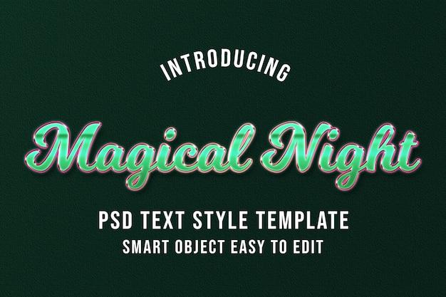 Noche mágica: plantilla de efecto de texto psd verde de lujo