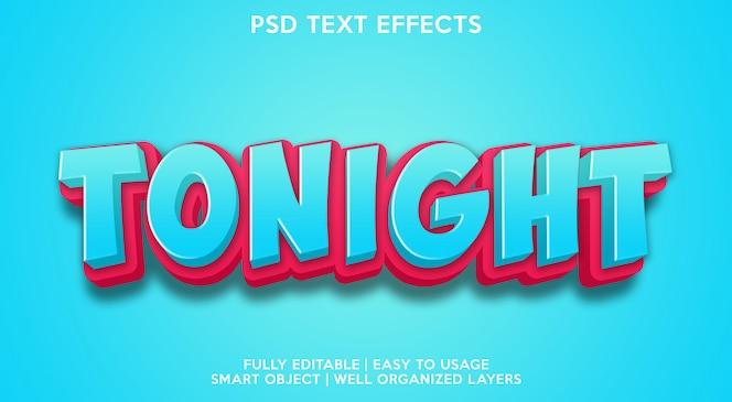 Esta noche plantilla de efectos de texto