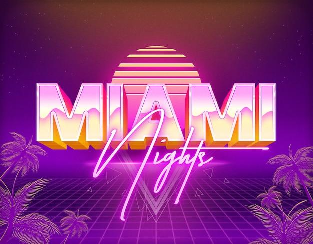 Noches de miami plantilla de efectos de texto estilo de capa psd