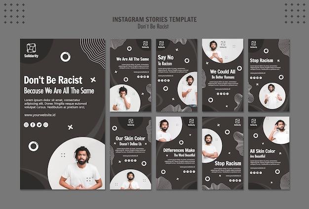 Non essere razzista concetto modello di storie di instagram