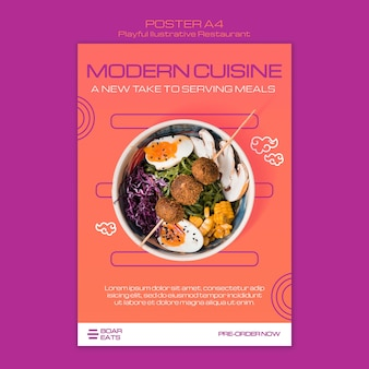 Noodle restaurant poster sjabloon
