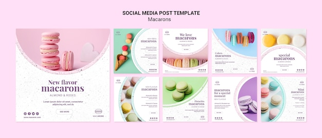 Nos encanta la plantilla de publicación de redes sociales de macarons