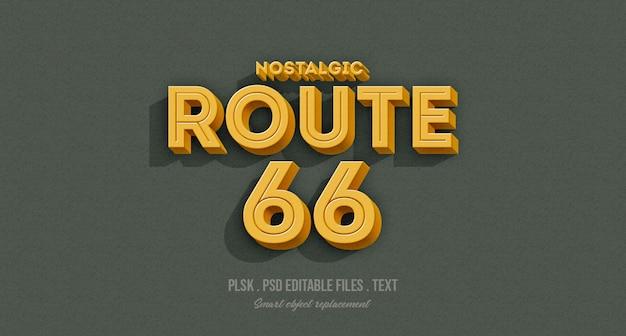 Nostalgico route 66 3d effetto testo stile mockup