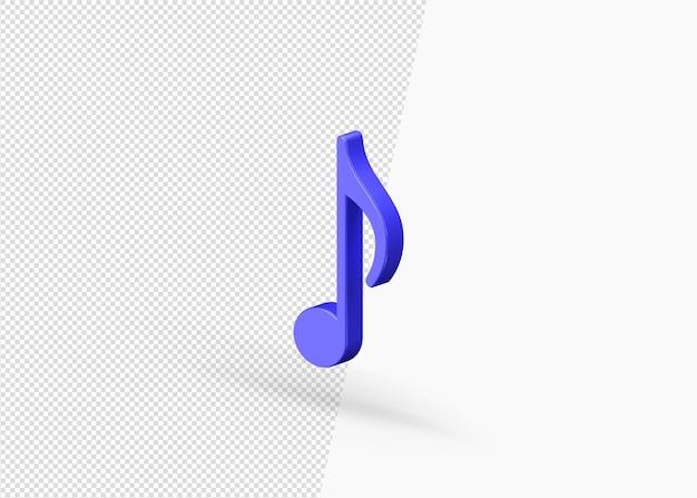 Nota musical de renderizado 3d aislado