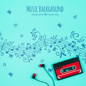 Notas musicales con cinta y auriculares.