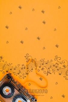 Notas musicales dibujan con cinta al lado