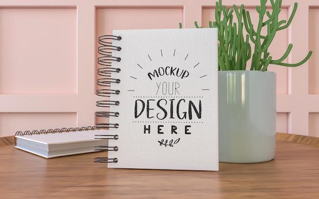 Notebook con espacio de trabajo mockup