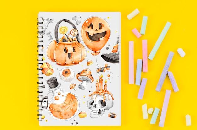 Notebook met halloween tekenen concept