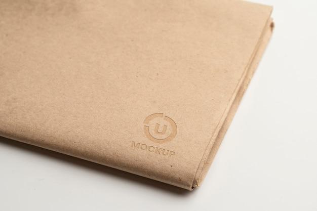 Notebook met mock-up logo-ontwerp bovenaanzicht