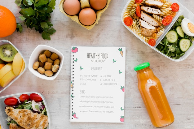 Notebook mock-up en verse maaltijden