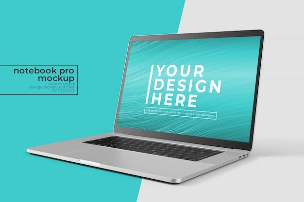 Notebook pro 15 pollici facile realistico per web, interfaccia utente e app photoshop mockup nella vista anteriore destra