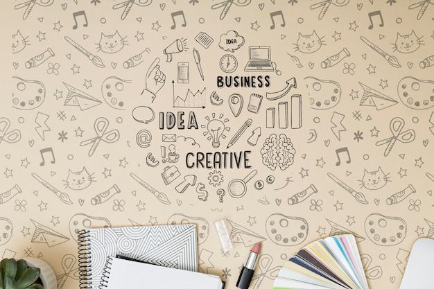 Notebooks met bovenaanzicht met mock-up
