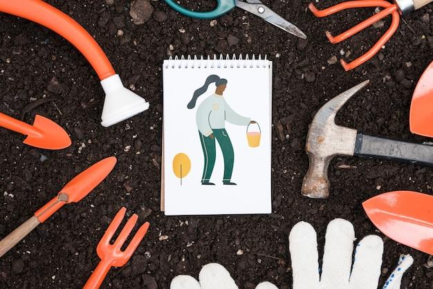 Notepad mockup met tuinieren concept