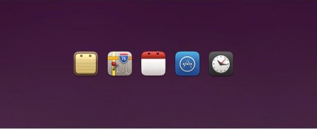 Notes, maps, calendar, app store, y los iconos del reloj de reemplazo