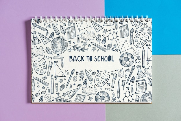 Notitieboekjemodel met terug naar schoolconcept