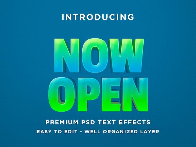 Nu open - 3d teksteffect psd-sjabloon