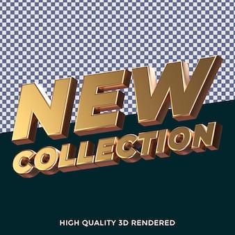 Nueva colección 3d renderizado estilo de texto aislado con textura metálica dorada realista