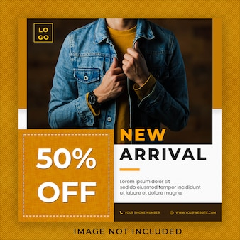 Nueva llegada jeans denim fashion collection instagram post banner template