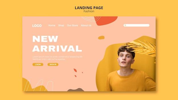 Nueva llegada plantilla de página de destino de moda masculina