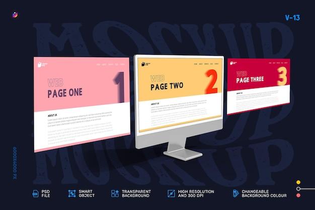 Nueva maqueta moderna de la pantalla de la computadora de escritorio del escaparate web 3d