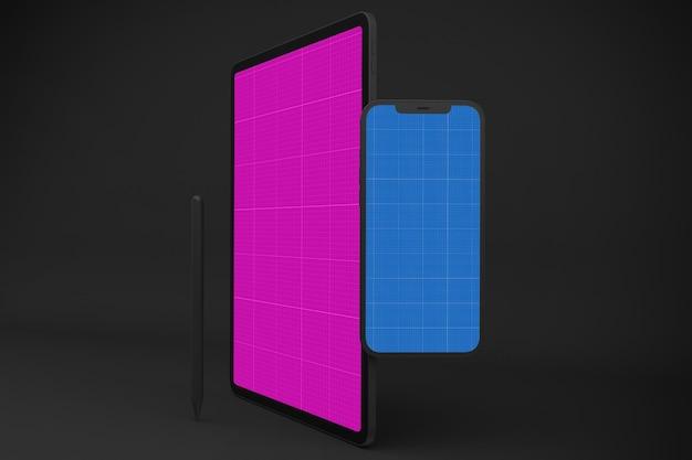 Nueva maqueta de smartphone 12 y tableta digital pro