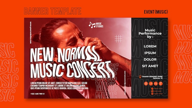 Nueva plantilla de banner de concierto de música normal