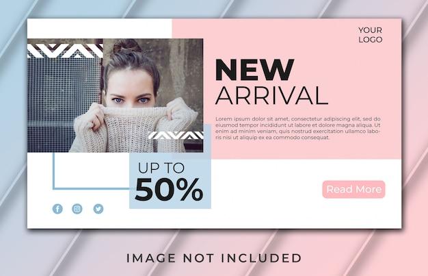 Nueva plantilla de diseño moderno de página de inicio de banner de llegada rosa
