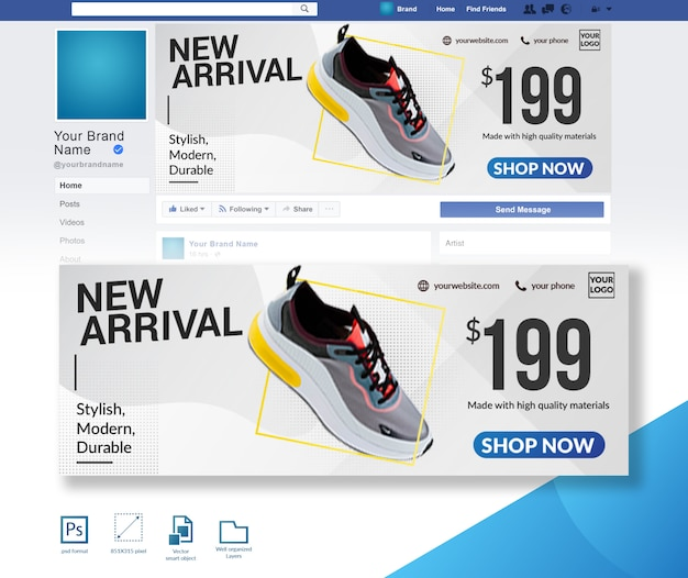Nueva plantilla de diseño de portada de facebook de llegada de zapatos