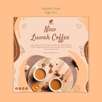 Nueva plantilla de impresión de volante cuadrado de café