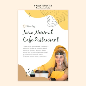 Nueva plantilla de póster de café normal