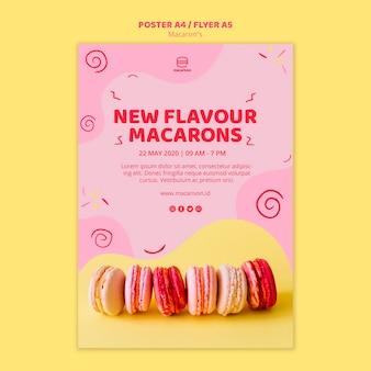 Nueva plantilla de póster de macarons de sabor