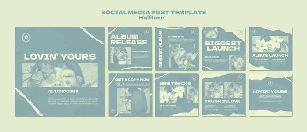 Nuevas publicaciones de medios sociales de estilo de semitono