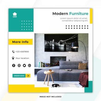 Nuevo aspecto de banner de plantilla de publicación de redes sociales de muebles