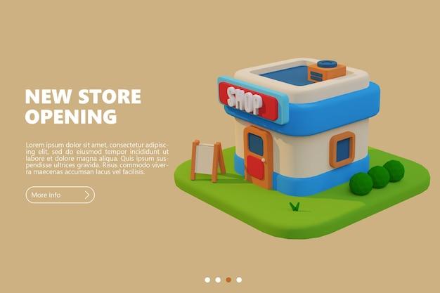 Nuevo banner de apertura de tienda con representación de tienda de dibujos animados