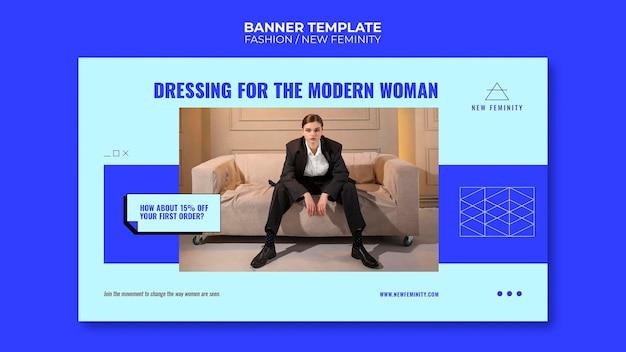 Nuevo banner horizontal de moda de feminidad.