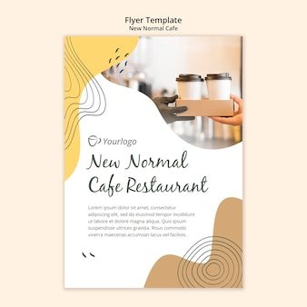 Nuevo folleto de plantilla de café normal