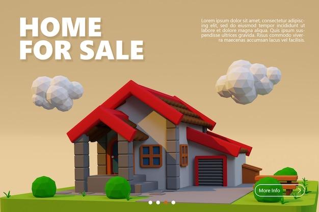 Nuevo hogar en venta banner con renderizado de casa adosada de dibujos animados