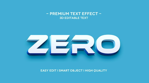 Nul 3d-tekstsytle-effect-sjabloon