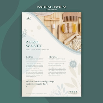 Nul afvalproducten poster sjabloon
