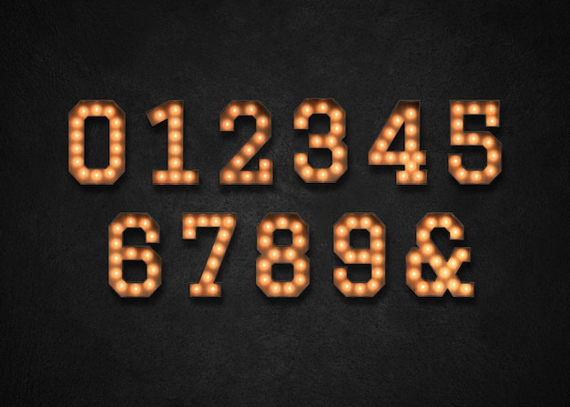 Numeri di luce di selezione 0-9
