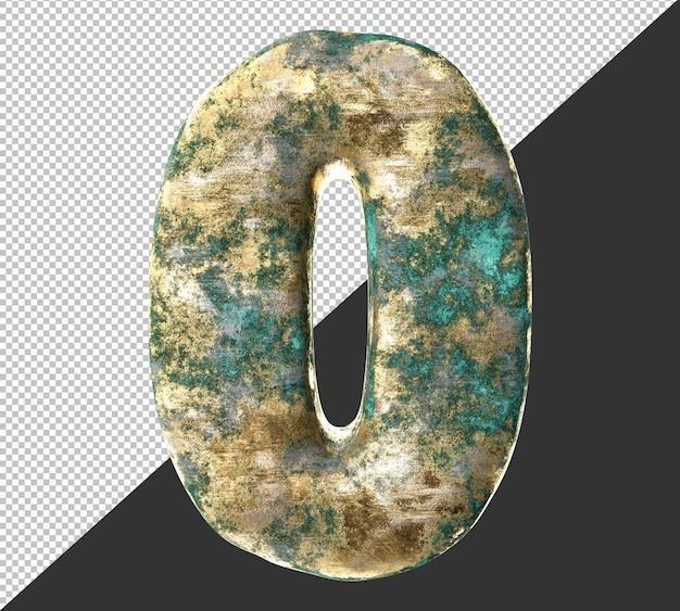 Número 0 (cero) del antiguo conjunto de colección de números metálicos de latón oxidado. aislado. representación 3d