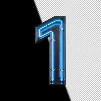 Número 1 hecho de luz de neón