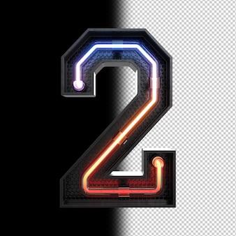 Número 2 hecho de luz de neón