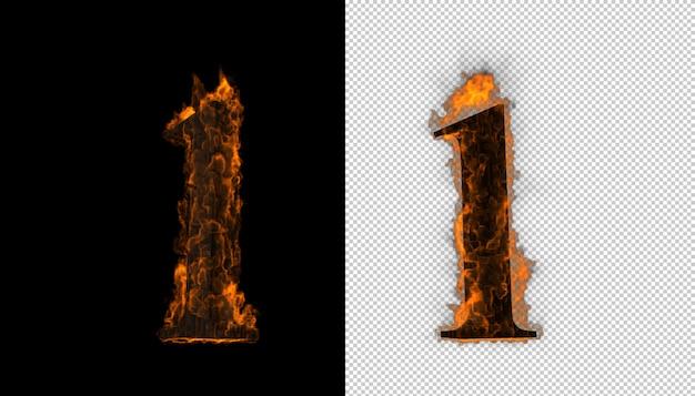 Numero 3d che prende effetto del fuoco e delle fiamme