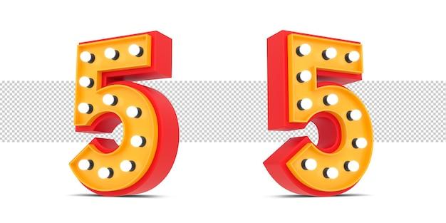 Número 3d estilo broadway con bombilla, renderizado 3d