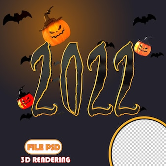 Número 3d feliz año nuevo halloween 2022