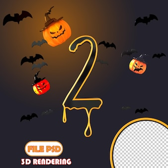 Número 3d halloween 2
