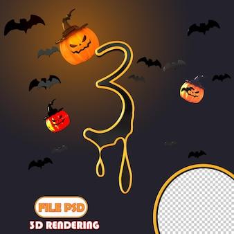 Número 3d halloween 3